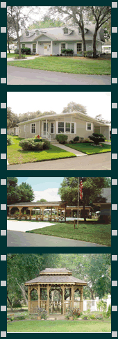 Club House, home, and Gazebo at Ramblewood Village mobile home community in Zephyrhills Florida