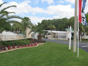 View of entrance gate at Town and country %25%25+ gated community in Sebring, Florida