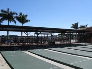 Recreational shuffleboards at Tropical Harbor Estates clubhouse in Florida