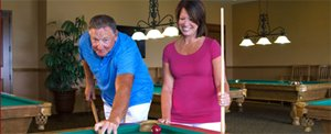 Playing billiards at Briarwood manufactured home community in Port Orange Florida