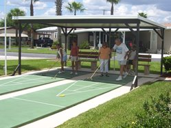 Shuffle Board Courts at Silver Oaks mobile home community in Sebring Florida