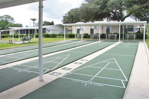 Shuffleboard courts at Kings Point manufactured home community in Lake Alfred Florida