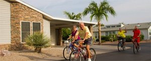 Biking around the community at Briarwood manufactured home community in Port Orange Florida