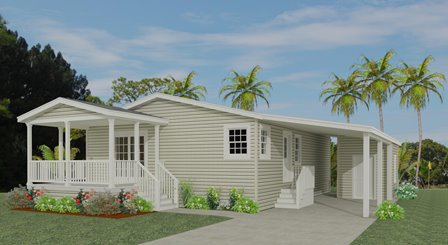 Rendering 2 bedroom home with carport and Front Porch