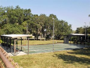 Shuffleboard courts at at Nature's Edge manufactured home community in Lake Wales Florida