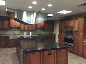 Kitchen inside the clubhouse at Old Bridge Village manufactured home community in North Fort Myers Florida