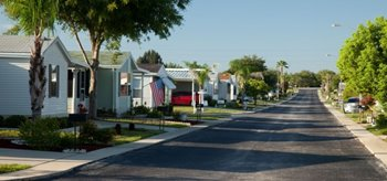 Manufactured home street scape at Brentwood Estates mobile home park in Hudson Florida