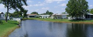 View of waterfront manufactured homes in Florida
