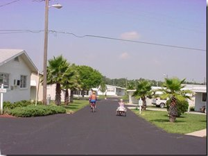 mobile home lined street at Villa del Sol