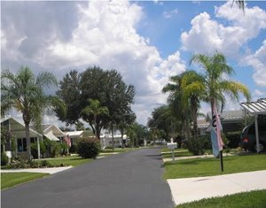 Manufacture home street scape at Old Bridge Village manufactured home community in North Fort Myers Florida