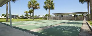 Shuffle Board Courts at Shadow Wood Village mobile Home Community in Hudson Florida