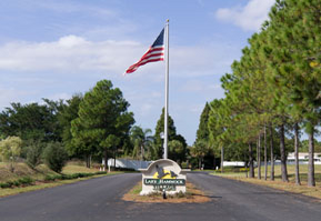 American Flag at the entry of Lake Hammock Village manufactured Home community in Haines City Florida