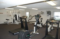 Fitness center at retirement mobile home community