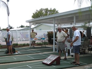 playing shuffleboard at Town & Country - Sebring, Florida